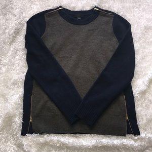 Wool Zipper Navy and Grey Sweater J Crew Size M P4